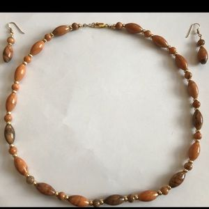 14 KT gold filled coralstone necklace/earrings set
